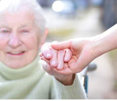 Hodling the hand of elder female